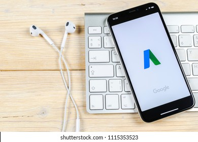 Sankt-Petersburg, Russia, June 2, 2018: Google AdWords application icon on Apple iPhone X screen close-up. Google Ad Words icon. Google Adwords application. Social media network