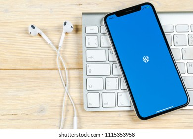Sankt-Petersburg, Russia, June 2, 2018: Wordpress application icon on Apple iPhone X screen close-up. Wordpress app icon. Wordpress.com application. Social network