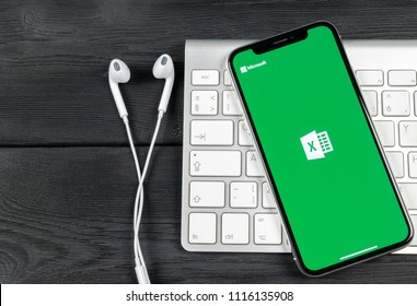 Sankt-Petersburg, Russia, June 2, 2018: Microsoft Exel application icon on Apple iPhone X screen close-up. Microsoft office Exel app icon. Microsoft office on mobile phone. Social media