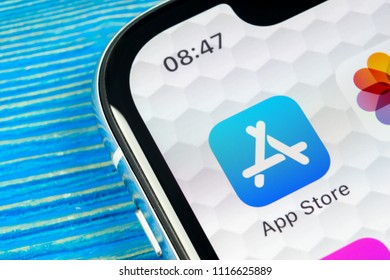 Sankt-Petersburg, Russia, June 20, 2018: Apple store application icon on Apple iPhone X smartphone screen close-up. Mobile application icon of app store. Social network. AppStore