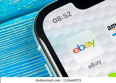Sankt-Petersburg, Russia, June 20, 2018: eBay application icon on Apple iPhone X screen close-up. eBay app icon. eBay.com is largest online auction and shopping websites.