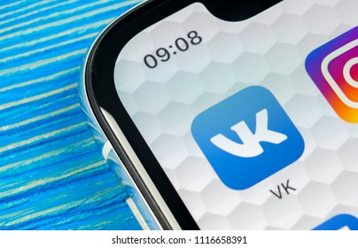 Sankt-Petersburg, Russia, June 20, 2018: Vkontakte application icon on Apple iPhone X screen close-up. VK app icon. Vkontakte mobile application. Social media network. Social media icon