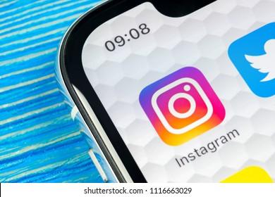 Sankt-Petersburg, Russia, June 20, 2018: Instagram application icon on Apple iPhone X smartphone screen close-up. Instagram app icon. Social media icon. Social network