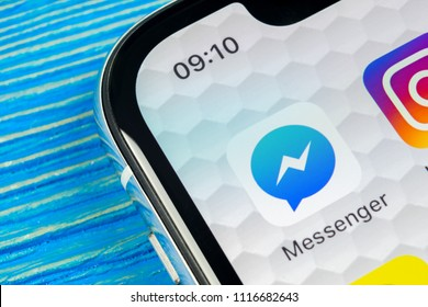 Sankt-Petersburg, Russia, June 20, 2018: Facebook messenger application icon on Apple iPhone X screen close-up. Facebook messenger app icon. Online internet social media network. Social media app