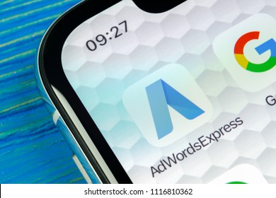 Sankt-Petersburg, Russia, June 20, 2018: Google AdWords express application icon on Apple iPhone X screen close-up. Google Ad Words Express icon. Google Adwords application. Social media network