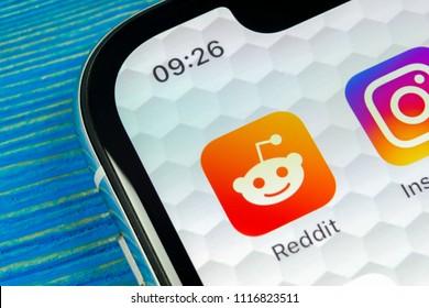 Sankt-Petersburg, Russia, June 20, 2018: Reddit application icon on Apple iPhone X smartphone screen close-up. Reddit app icon. Reddit is an online social media network.