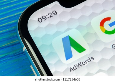 Sankt-Petersburg, Russia, June 20, 2018: Google AdWords application icon on Apple iPhone X screen close-up. Google Ad Words icon. Google Adwords application. Social media network