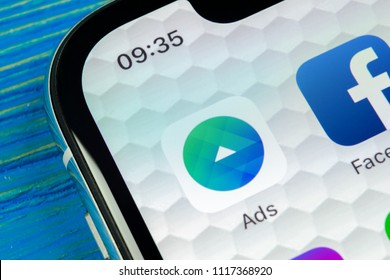 Sankt-Petersburg, Russia, June 20, 2018: Facebook Ads application icon on Apple iPhone X screen close-up. Facebook Business app icon. Facebook Ads mobile application. Social media network