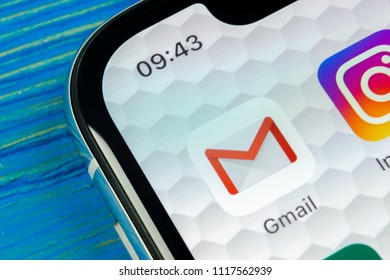 Sankt-Petersburg, Russia, June 20, 2018: Google Gmail application icon on Apple iPhone X smartphone screen close-up. Gmail app icon. Gmail is  popular Internet online e-mail. Social media icon