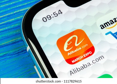 Sankt-Petersburg, Russia, June 20, 2018: Alibaba application icon on Apple iPhone X smartphone screen close-up. Alibaba app icon. Alibaba.com is popular e-commerce application. Social media icon