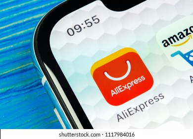 Sankt-Petersburg, Russia, June 20, 2018: Aliexpress application icon on Apple iPhone X smartphone screen. Aliexpress app icon. Aliexpress.com is popular e-commerce application. Social media icon