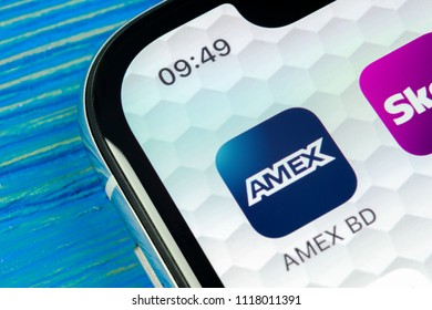 Sankt-Petersburg, Russia, June 20, 2018: Amex application icon on Apple iPhone X smartphone screen close-up. Amex app icon. American express is an online electronic finance payment system.