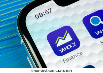 Sankt-Petersburg, Russia, June 20, 2018: Yahoo finance application icon on Apple iPhone X smartphone screen close-up. Yahoo finance app icon. Social network. Social media icon