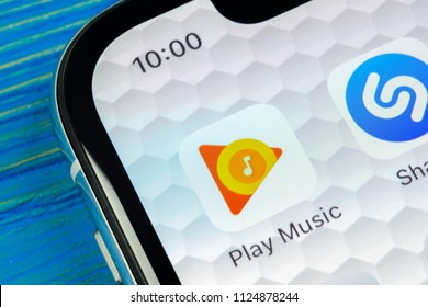 Sankt-Petersburg, Russia, June 20, 2018: Google Play Music application icon on Apple iPhone X screen close-up. Google Play app icon. Google Play music application. Social media network