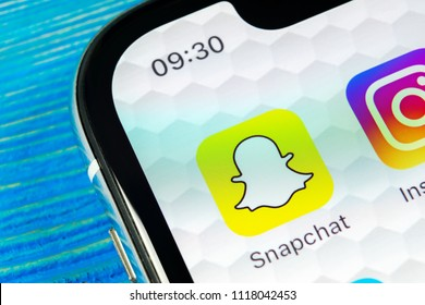Sankt-Petersburg, Russia, June 22, 2018: Snapchat application icon on Apple iPhone X smartphone screen close-up. Snapchat app icon. Social media icon. Social network
