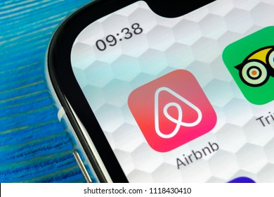 Sankt-Petersburg, Russia, June 22, 2018: Airbnb application icon on Apple iPhone X screen close-up. Airbnb app icon. Airbnb.com is online website for booking rooms. social media network.