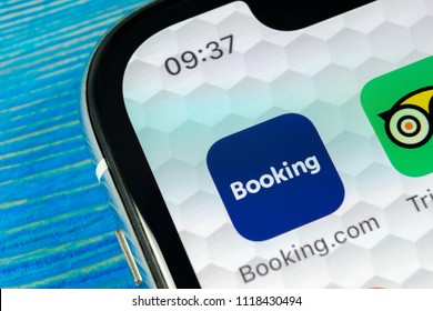 Sankt-Petersburg, Russia, June 22, 2018: Booking.com application icon on Apple iPhone X screen close-up. Booking app icon. Booking.com.  Social media app. Social network