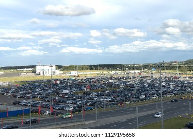 SANKT-PETERSBURG, RUSSIA - JUNE 29, 2018: Birds eye view of airport auto crowded parking lot in Pulkovo International airport in Saint-Petersburg, Russia