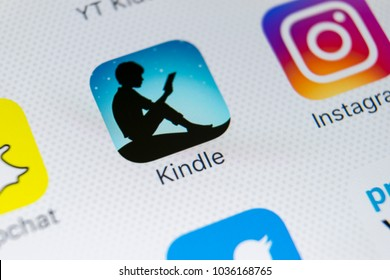 Sankt-Petersburg, Russia, March 1, 2018: Amazon Kindle application icon on Apple iPhone X screen close-up. Amazon Kindle app icon. Amazon kindle application. Social media network