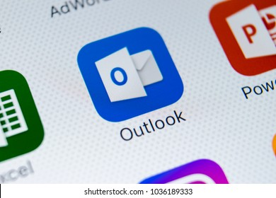 Sankt-Petersburg, Russia, March 1, 2018: Microsoft Outlook application icon on Apple iPhone X screen close-up. Microsoft outlook app icon. Microsoft OutLook application. Social media network