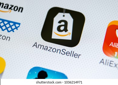 Sankt-Petersburg, Russia, March 1, 2018: Amazon Seller application icon on Apple iPhone X screen close-up. Google AmazonSeller app icon. Google Amazon Seller application. Social media network
