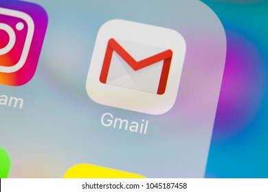 Sankt-Petersburg, Russia, March 13, 2018: Google Gmail application icon on Apple iPhone X smartphone screen close-up. Gmail app icon. Gmail is  popular Internet online e-mail. Social media icon