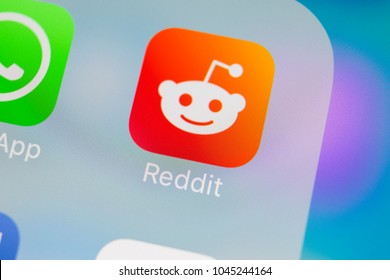 Sankt-Petersburg, Russia, March 13, 2018: Reddit application icon on Apple iPhone X smartphone screen close-up. Reddit app icon. Reddit is an online social media network.