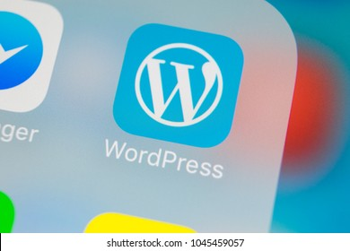 Sankt-Petersburg, Russia, March 13, 2018: Wordpress application icon on Apple iPhone X screen close-up. Wordpress app icon. Wordpress.com application. Social network
