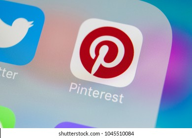 Sankt-Petersburg, Russia, March 13, 2018: Pinterest application icon on Apple iPhone 8 smartphone screen close-up. Pinterest app icon. Pinterest is popular Internet social network. Social media icon