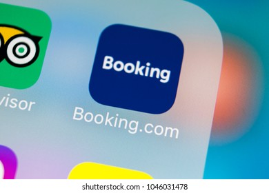 Sankt-Petersburg, Russia, March 14, 2018: Booking.com application icon on Apple iPhone X screen close-up. Booking app icon. Booking.com. Social media app. Social network