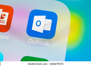 Sankt-Petersburg, Russia, March 14, 2018: Microsoft Outlook office application icon on Apple iPhone X screen close-up. Microsoft outlook app icon. Microsoft OutLook application. Social media network