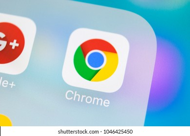 Sankt-Petersburg, Russia, March 14, 2018: Google Chrome application icon on Apple iPhone X screen close-up. Google Chrome app icon. Google Chrome application. Social media network