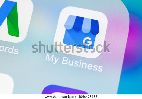 Sankt-Petersburg, Russia, March 14, 2018: Google My Business application icon on Apple iPhone X screen close-up. Google My Business icon. Google My business application. Social media network