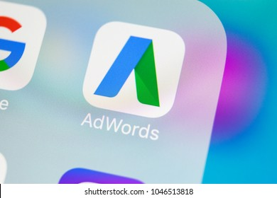Sankt-Petersburg, Russia, March 15, 2018: Google AdWords application icon on Apple iPhone X screen close-up. Google Ad Words icon. Google Adwords application. Social media network