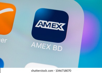 Sankt-Petersburg, Russia, March 15, 2018: Amex application icon on Apple iPhone X smartphone screen close-up. Amex app icon. Amex is an online electronic finance payment system.