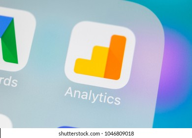Sankt-Petersburg, Russia, March 15, 2018: Google Analytics application icon on Apple iPhone X screen close-up. Google Analytics icon. Google Analytics application. Social media network