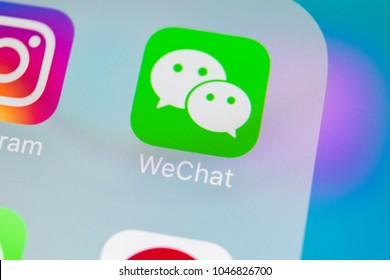 Sankt-Petersburg, Russia, March 15, 2018: Wechat messenger application icon on Apple iPhone X smartphone screen close-up. Wechat messenger app icon. Social media network.