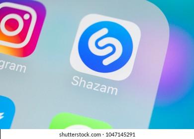 Sankt-Petersburg, Russia, March 15, 2018: Shazam application icon on Apple iPhone X screen close-up. Shazam app icon. Shazam is popular online music application. Social media app