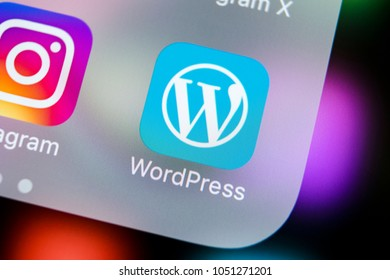 Sankt-Petersburg, Russia, March 21, 2018: Wordpress application icon on Apple iPhone X screen close-up. Wordpress app icon. Wordpress.com application. Social network