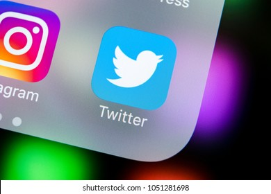 Sankt-Petersburg, Russia, March 21, 2018: Twitter application icon on Apple iPhone X smartphone screen close-up. Twitter app icon. Social media icon. Social network