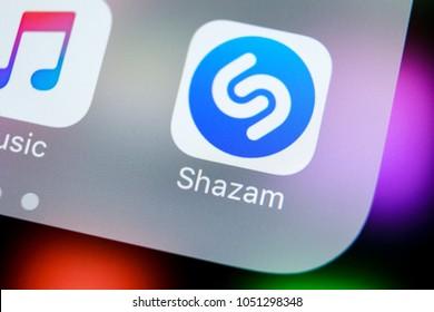 Sankt-Petersburg, Russia, March 21, 2018: Shazam application icon on Apple iPhone X screen close-up. Shazam app icon. Shazam is popular online music application. Social media app