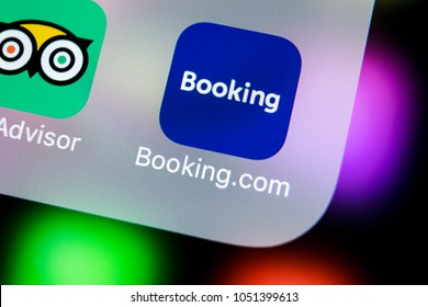Sankt-Petersburg, Russia, March 21, 2018: Booking.com application icon on Apple iPhone X screen close-up. Booking app icon. Booking.com.  Social media app. Social network
