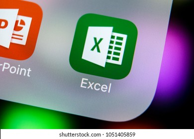 Sankt-Petersburg, Russia, March 21, 2018: Microsoft Exel application icon on Apple iPhone X screen close-up. Microsoft office Exel app icon. Microsoft office on mobile phone. Social media