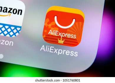 Sankt-Petersburg, Russia, March 21, 2018: Aliexpress application icon on Apple iPhone X smartphone screen close-up. AliExpress app icon. Aliexpress.com is e-commerce application. Social media icon