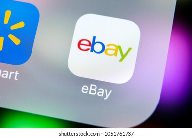 Sankt-Petersburg, Russia, March 21, 2018: eBay application icon on Apple iPhone X screen close-up. eBay app icon. eBay.com is largest online auction and shopping websites.