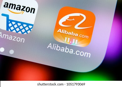 Sankt-Petersburg, Russia, March 21, 2018: Alibaba application icon on Apple iPhone X smartphone screen close-up. Alibaba app icon. Alibaba.com is popular e-commerce application. Social media icon