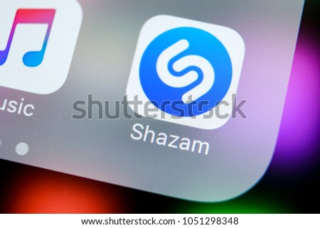 Sankt-Petersburg, Russia, March 21, 2018: Shazam application icon on Apple iPhone X screen close-up. Shazam app icon. Shazam is popular online music application. Social media app