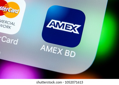 Sankt-Petersburg, Russia, March 22, 2018: Amex application icon on Apple iPhone X smartphone screen close-up. American express app icon. Amex is an online electronic finance payment system.