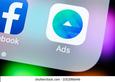 Sankt-Petersburg, Russia, March 22, 2018: Facebook Ads application icon on Apple iPhone X screen close-up. Facebook Business app icon. Facebook Ads mobile application. Social media network
