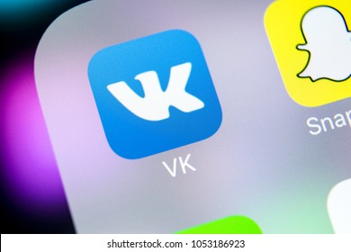 Sankt-Petersburg, Russia, March 24, 2018: Vkontakte application icon on Apple iPhone X screen close-up. VK app icon. Vkontakte mobile application. Social media network. Social media icon